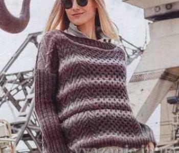 Пуловер разнообразными узорами