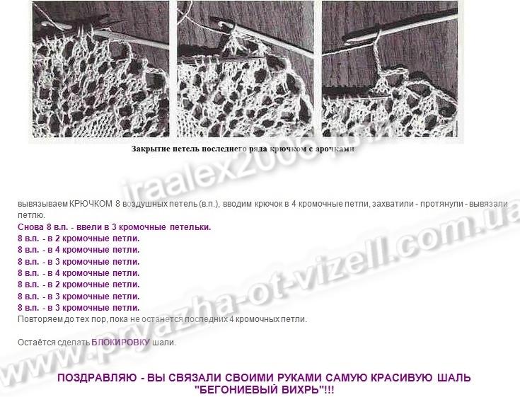 Схема вязания шали вихрь