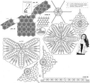 Жакет из шестиугольников и ромбов