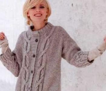 Жакет с узором плетеная коса