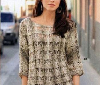 Пуловер со спущенными петлями спицами