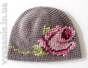 Шапка с розой