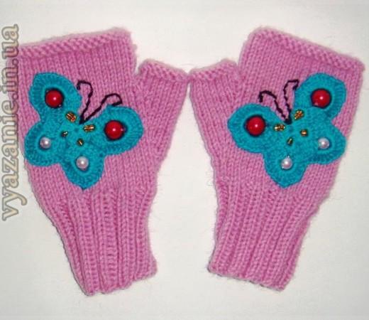 Митенки с бабочками