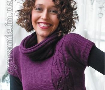 Сливовый пуловер с фантазийным узором