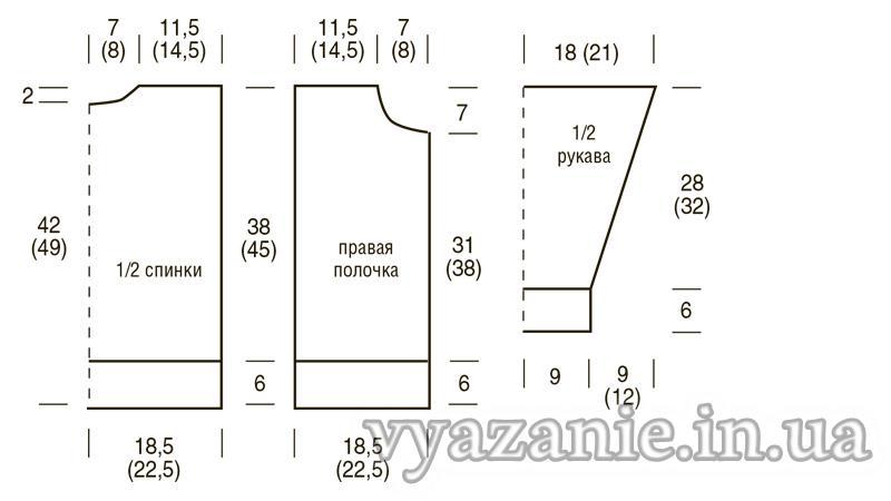 Схема Двухцветная кофта с застежкой-молнией