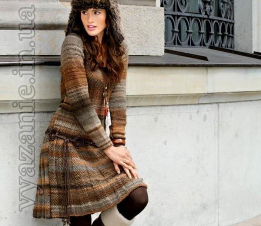 Платье в коричневых тонах