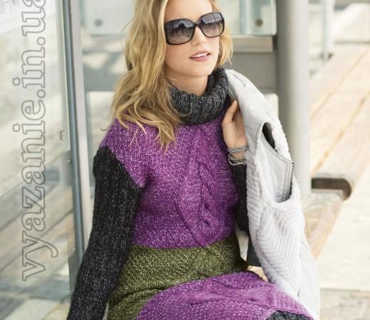 Трехцветное платье с рельефными узорами