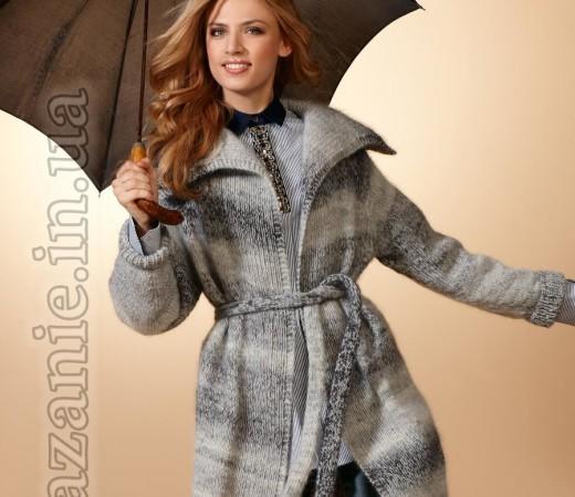 Пальто из меланжевой пряжи