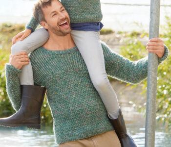 Мужской джемпер с плетеным узором